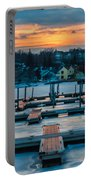 Sunset At The Marina In Winter Portable Battery Charger