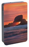 Sunset Behind Arch At Oregon Coast Usa Portable Battery Charger
