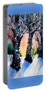 Sunset Birches On The Rise Portable Battery Charger