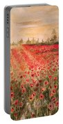 Sunset By The Poppy Fields Portable Battery Charger