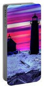Sunset In Winter At Grand Haven Lighthouse Portable Battery Charger