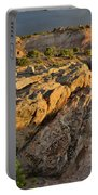 Sunset On Boulders Of Bentonite Site On Little Park Road Portable Battery Charger