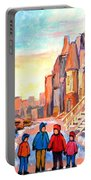 Sunset On Hotel De Ville Street Montreal Portable Battery Charger