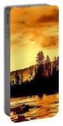 Sunset At  Yellowstone Lake Portable Battery Charger