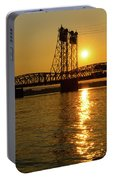 Sunset Over Columbia Crossing I-5 Bridge Portable Battery Charger