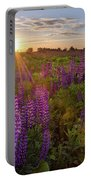 Sunset Over Meadow Of Lupine Portable Battery Charger