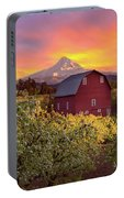 Sunset Over Mt Hood And Red Barn Portable Battery Charger