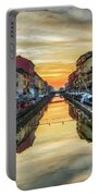 Sunset Over Naviglio Grande Portable Battery Charger