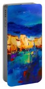 Sunset Over The Village Portable Battery Charger by Elise Palmigiani