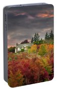 Sunset Sky Over Farm House In Rural Oregon Portable Battery Charger