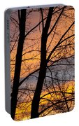 Sunset Through The Tree Silhouette Portable Battery Charger