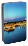 Sunset To Blue Hour Panorama Over Gamla Stan In Stockholm Portable Battery Charger