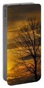 Sunset With Backlit Trees Portable Battery Charger