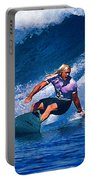 Surfer Dude Catching A Wave Portable Battery Charger