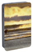 Surfer Faces Wind And Waves, Morro Bay, Ca Portable Battery Charger