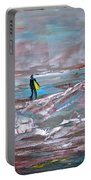 Surfer On A Foggy Day Portable Battery Charger