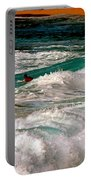 Surfer On Surf, Sunset Beach Portable Battery Charger