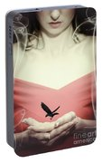 Surreal Image Of Woman With Bird Portable Battery Charger