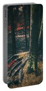 Surreal Red Leaves In A Dark Forest Finland Portable Battery Charger
