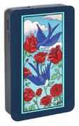 Swallows And Roses Portable Battery Charger