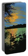 Swans At Sunset Portable Battery Charger