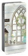 Sweet Life Farmhouse 3 Gothic Window Lantern Floral Shiplap Wood Portable Battery Charger