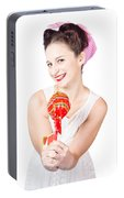 Sweet Lolly Shop Lady Offering Over Red Lollipop Portable Battery Charger
