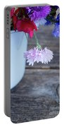 Sweet Pea And Corn Flowers Portable Battery Charger