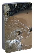 Swirling Surf And Rocks Portable Battery Charger by Charlene Mitchell