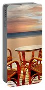Table For Four At The Beach At Sunset Portable Battery Charger