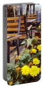 Tables And Chairs With Flowers Portable Battery Charger