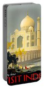Taj Mahal Visit India Vintage Travel Poster Restored Portable Battery Charger