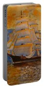 Tall Ship In The Sunset Portable Battery Charger