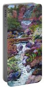 Tall Waterfall At The Botanic Gardens Portable Battery Charger