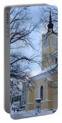 Tallin Church In Winter Portable Battery Charger