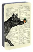 Tasmanian Tiger And Orange Butterfly Antique Illustration On Dictionary Page Portable Battery Charger