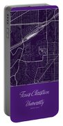 Tcu Street Map - Texas Christian University Fort Worth Map Portable Battery Charger