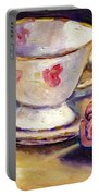 Tea Cup With Rose Still Life Grace Venditti Montreal Art Portable Battery Charger