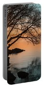 Teal And Orange Morning Tranquility With Rocks And Willows Portable Battery Charger