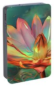 Teal And Peach Waterlilies Portable Battery Charger