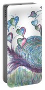 Teal Hearted Peacock Watercolor Portable Battery Charger