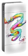 Technicolor Dragon -- Rainbow-colored Whimsical Dragon  Portable Battery Charger