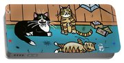 Cats Having Fun Playing With Spiders Portable Battery Charger