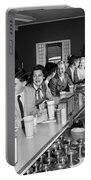 Teens At Soda Fountain Counter, C.1950s Portable Battery Charger