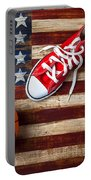 Tennis Shoes And Basketball On Flag Portable Battery Charger