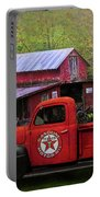 Texaco Truck On A Smoky Mountain Farm In Colorful Textures  Portable Battery Charger