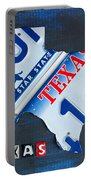 Texas License Plate Map Portable Battery Charger