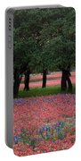 Texas Live Oaks Surrounded By A Field Of Indian Paintbrush And Bluebonnets Portable Battery Charger