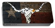 Texas Longhorn Recycled Vintage License Plate Art On Lone Star State Flag Wood Background Portable Battery Charger