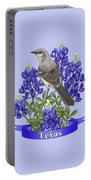 Texas State Mockingbird And Bluebonnet Flower Portable Battery Charger